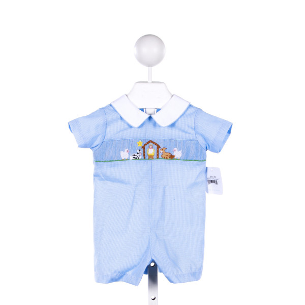PETIT BEBE BLUE MICRO-GINGHAM SHORTALL WITH PUMPKIN SMOCKING