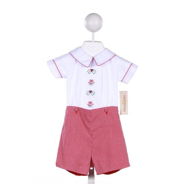 MARCO & LIZZY 2-PIECE WHITE TOP WITH CHRISTMAS EMBROIDERY AND MATCHING RED PLAID BUTTON ON SHORTS
