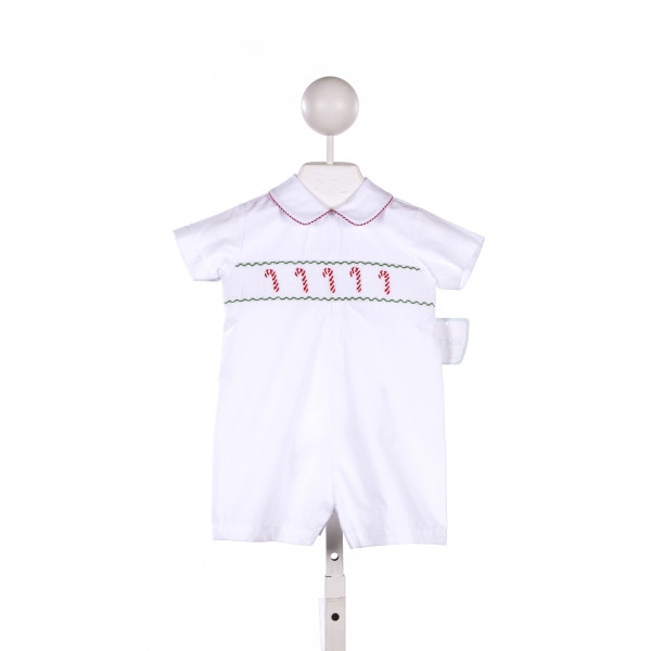 PETIT BEBE WHITE SHORTALL WITH CANDY CANE SMOCKING