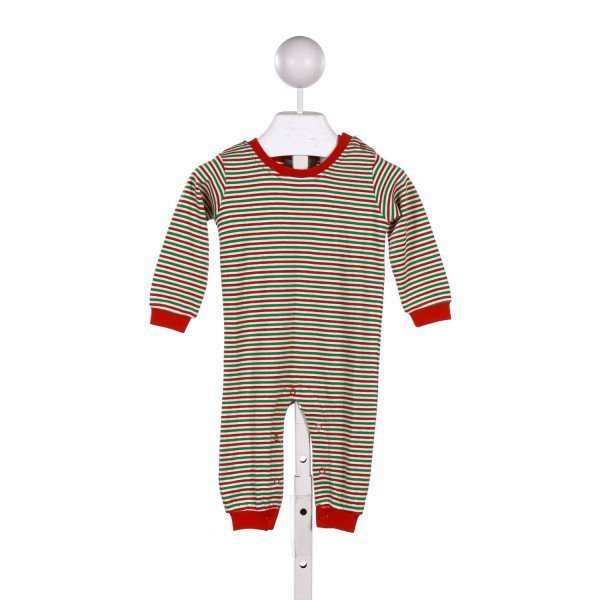 GABIANO GREEN AND RED STRIPEDD KNIT ROMPER