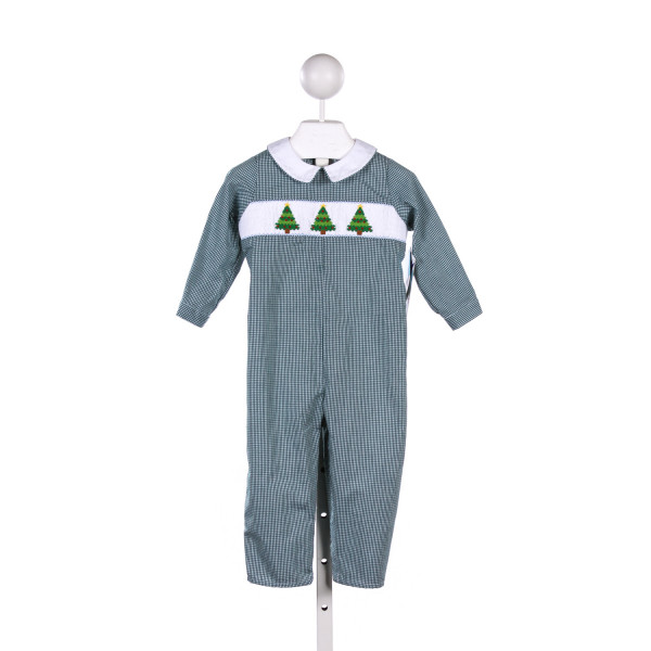 SILLY GOOSE GREEN GINGHAM ROMPER WITH CHRISTMAS TREE SMOCKING