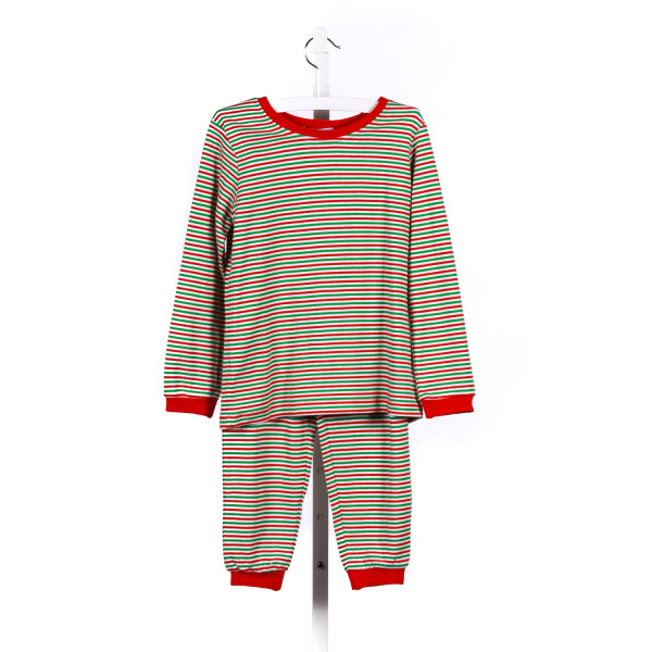 GABIANO 2-PIECE RED AND GREEN STRIPEDD KNIT LOUNGEWEAR PANT SET *SIZE 6/7