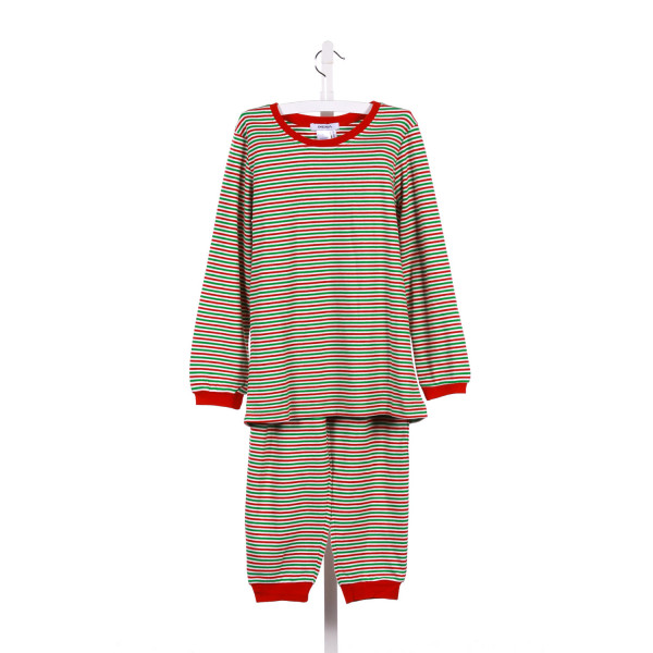 GABIANO 2-PIECE RED AND GREEN STRIPEDD KNIT LOUNGEWEAR PANT SET