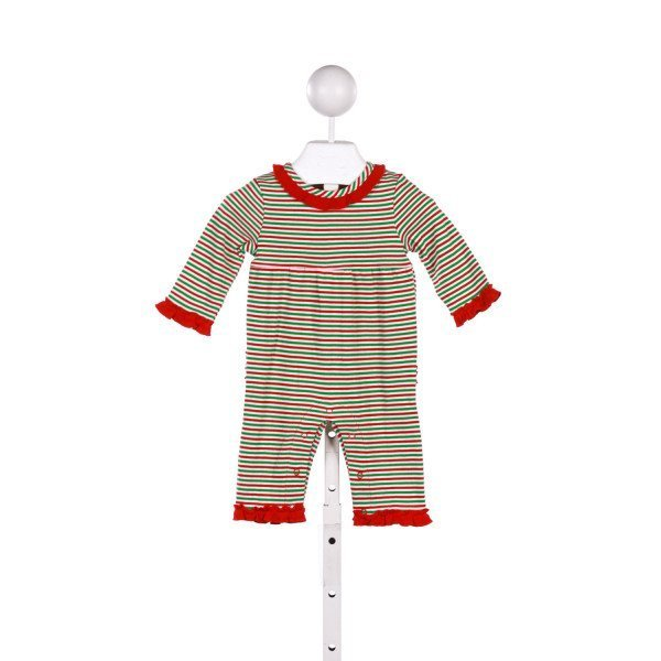 GABIANO GREEN AND RED STRIPEDD KNIT ROMPER WITH RED RUFFLE TRIM