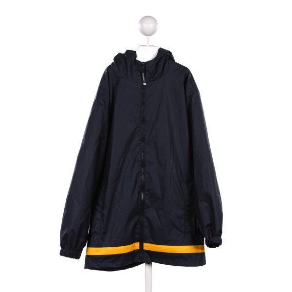 CHARLES RIVER NAVY BLUE RAIN JACKET WITH YELLOW STRIPE *SIZE YOUTH XL RUNS LIKE A SIZE 16/18