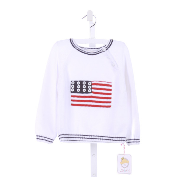 ZUBELS   WHITE   PRINTED DESIGN SWEATER