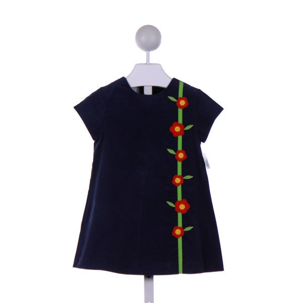 BETTI TERRELL  NAVY CORDUROY  APPLIQUED CASUAL DRESS