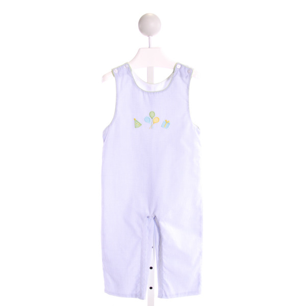 PETIT BEBE  LT BLUE  GINGHAM EMBROIDERED LONGALL/ROMPER