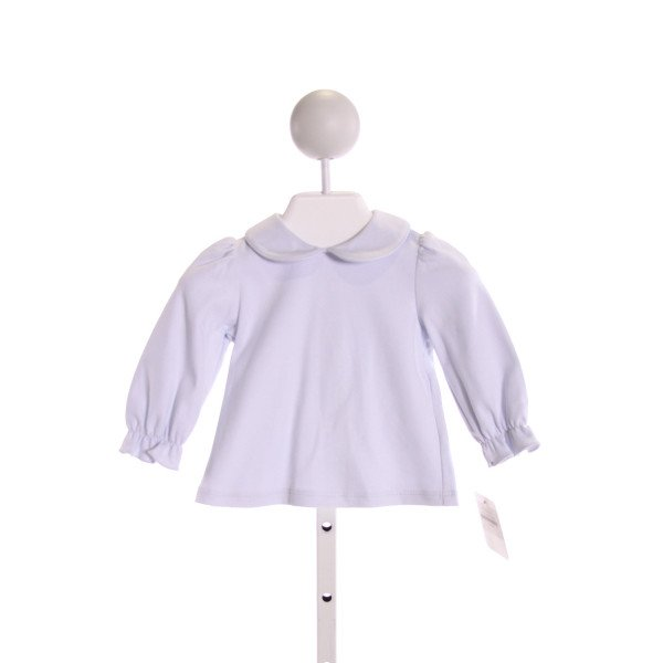 PETIT BEBE  LT BLUE    KNIT LS SHIRT WITH RUFFLE