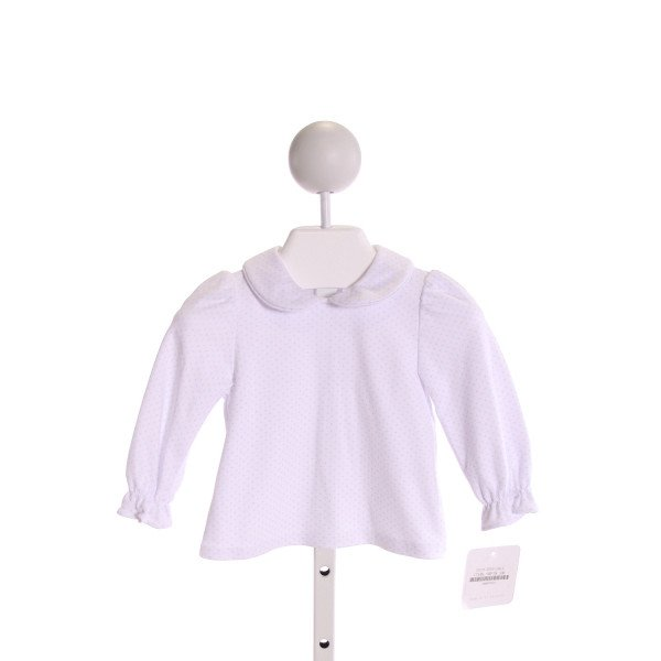 PETIT BEBE  WHITE  POLKA DOT  KNIT LS SHIRT WITH RUFFLE