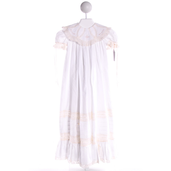 PIECES BY TAM  WHITE   EMBROIDERED CHRISTENING GOWN WITH LACE TRIM