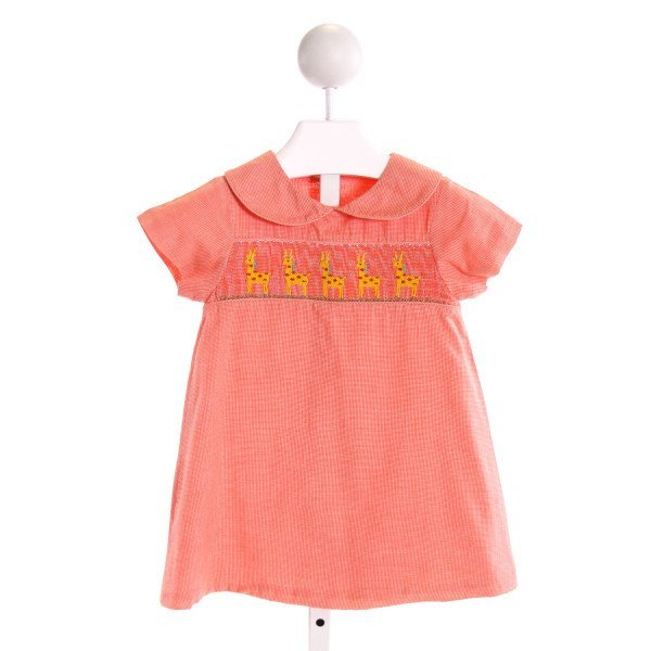BEAUX ET BELLES  ORANGE  GINGHAM SMOCKED DRESS
