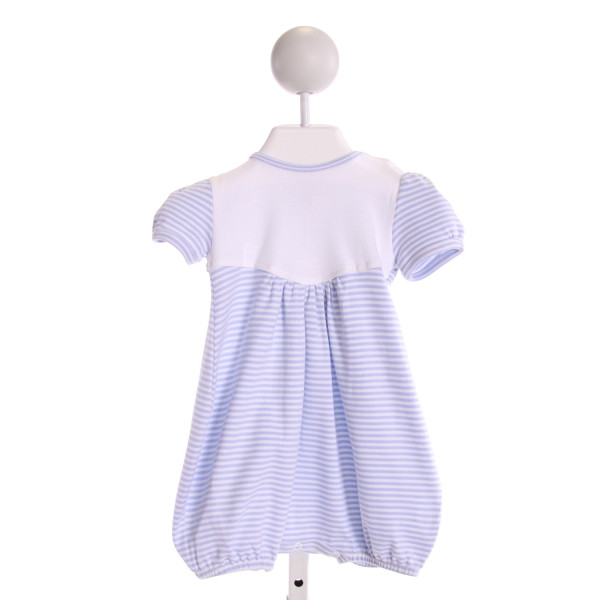 SQUIGGLES  LT BLUE  STRIPED  KNIT ROMPER