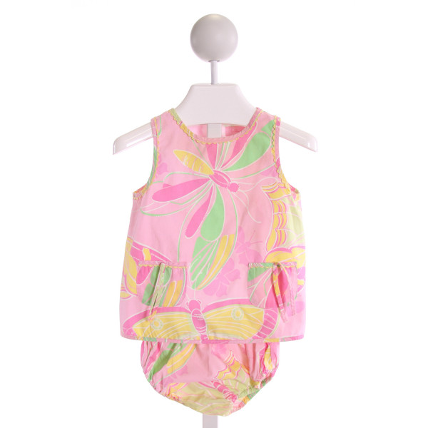 LILLY PULITZER  LT PINK   PRINTED DESIGN 2-PIECE OUTFIT WITH RIC RAC
