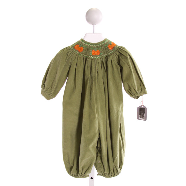ROYAL CHILD  GREEN CORDUROY  SMOCKED LONGALL/ROMPER