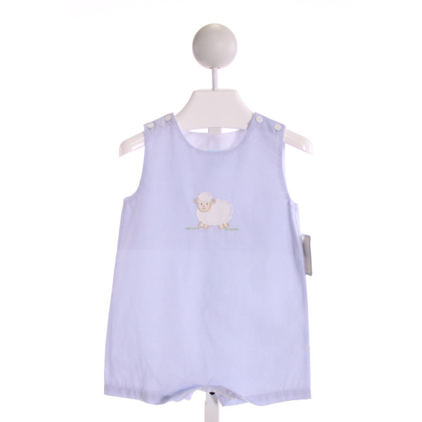 PETIT BEBE  LT BLUE  MICROCHECK EMBROIDERED JOHN JOHN/ SHORTALL