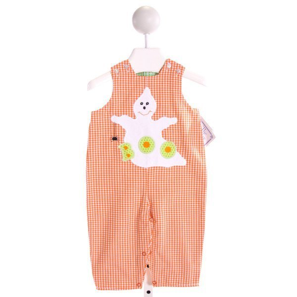 BAILEY BOYS  ORANGE  GINGHAM EMBROIDERED LONGALL/ROMPER