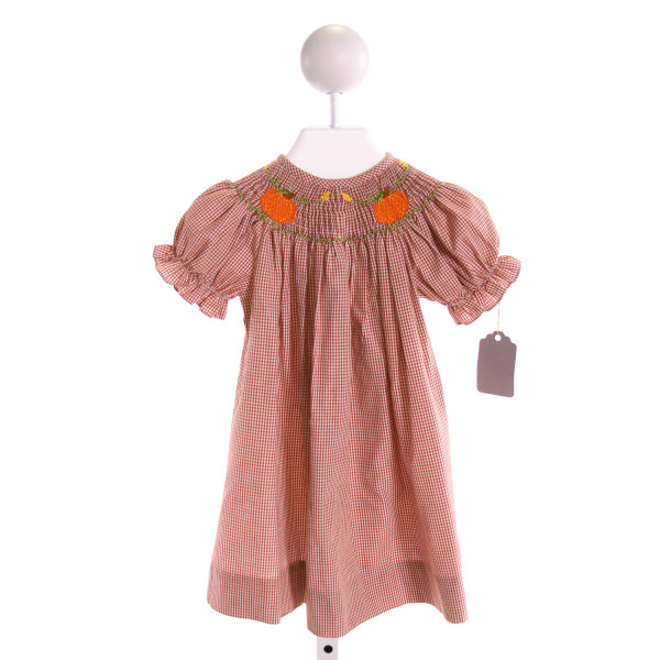 SILLY GOOSE  BROWN  GINGHAM SMOCKED DRESS WITH RUFFLE