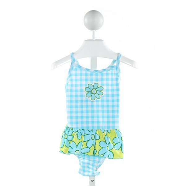 SWEET POTATOES  AQUA  GINGHAM PRINTED DESIGN 1-PIECE SWIMSUIT WITH RUFFLE