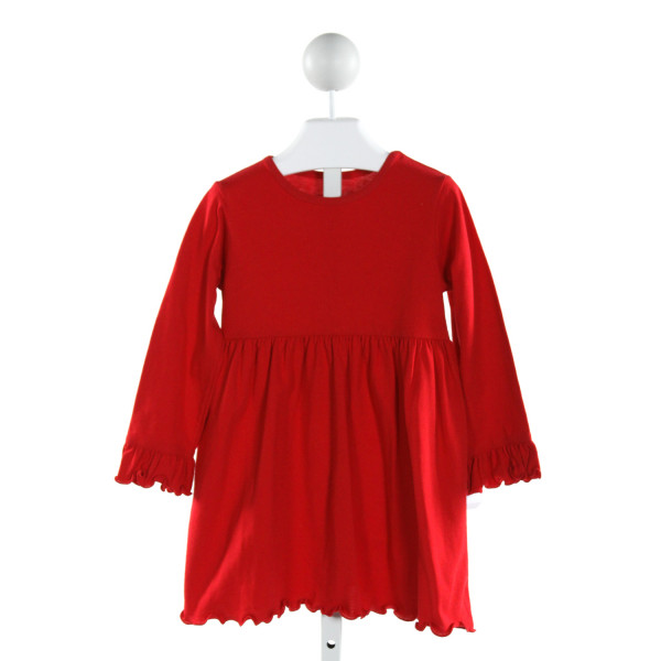 KELLY'S KIDS  RED    KNIT DRESS WITH RUFFLE