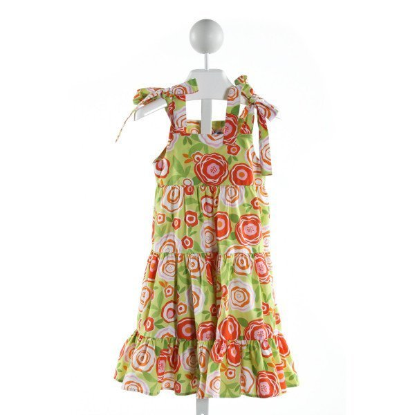 KELLY'S KIDS  LT GREEN  FLORAL  DRESS WITH RUFFLE