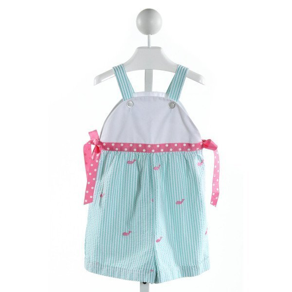 KELLY'S KIDS  AQUA SEERSUCKER STRIPED EMBROIDERED ROMPER