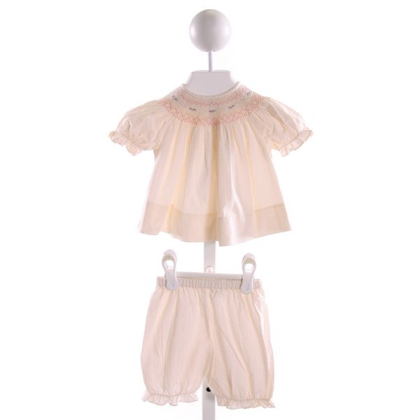 SWEET ANGELA  IVORY   SMOCKED 2-PIECE OUTFIT WITH RUFFLE