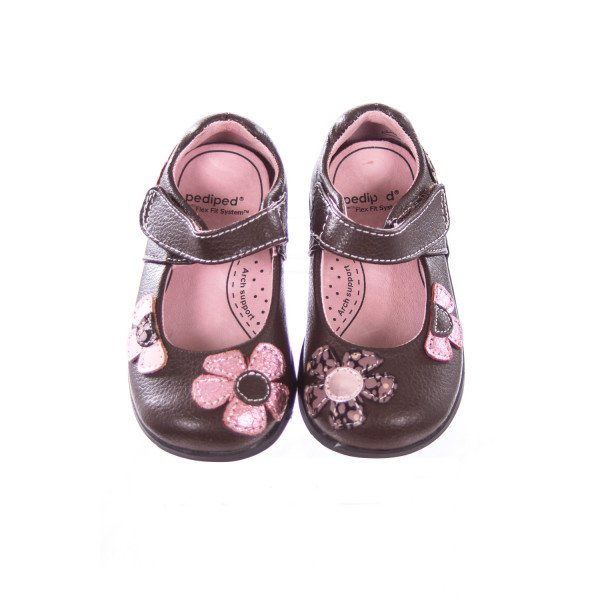 PEDIPED BROWN AND PINK FLOWER SHOES TODDLER SIZE 5.5 *SLIGHT IMPERFECTION (LIGHT WEAR)