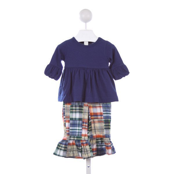 KELLYS KIDS NAVY KNIT TOP WITH MADRAS RUFFLE PANTS