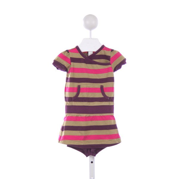 TEA PURPLE, TAN AND PINK STRIPED KNIT DRESS WITH KNIT SHORTIES *SIZE 12-18M