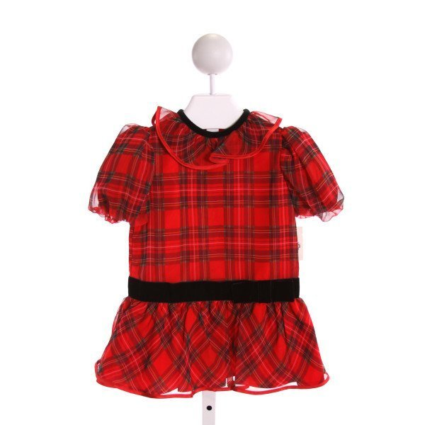 FLORENCE EISEMAN  MULTI-COLOR  PLAID  PARTY DRESS WITH RUFFLE