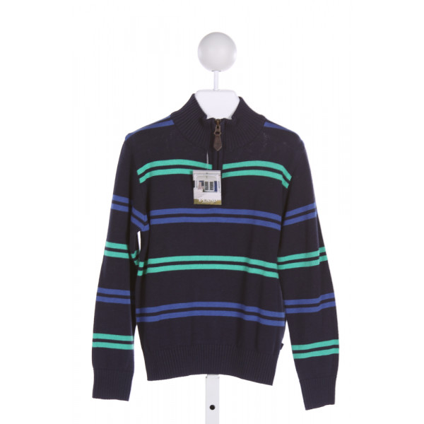 E-LAND  MULTI-COLOR  STRIPED  QUARTER ZIP PULLOVER