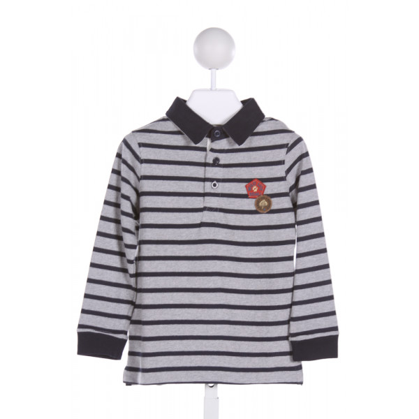 SERGENT MAJOR  MULTI-COLOR  STRIPED APPLIQUED KNIT LS SHIRT