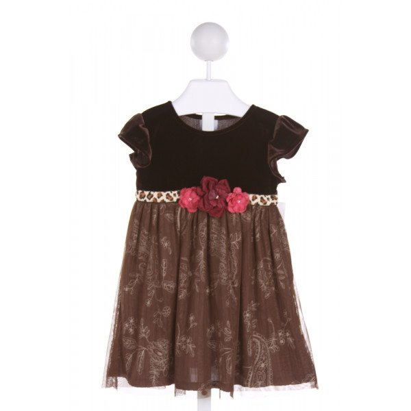 HAUTE BABY  BROWN  FLORAL APPLIQUED PARTY DRESS WITH TULLE
