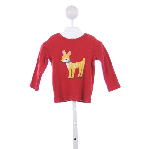 BABY BODEN RED KNIT TOP WITH DEER APPLIQUE *SIZE 12-18 MONTHS