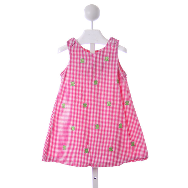 RARE EDITIONS PINK GINGHAM FROG DRESS  *SLIGHT IMPERFECTION (LIGHT WASH WEAR)