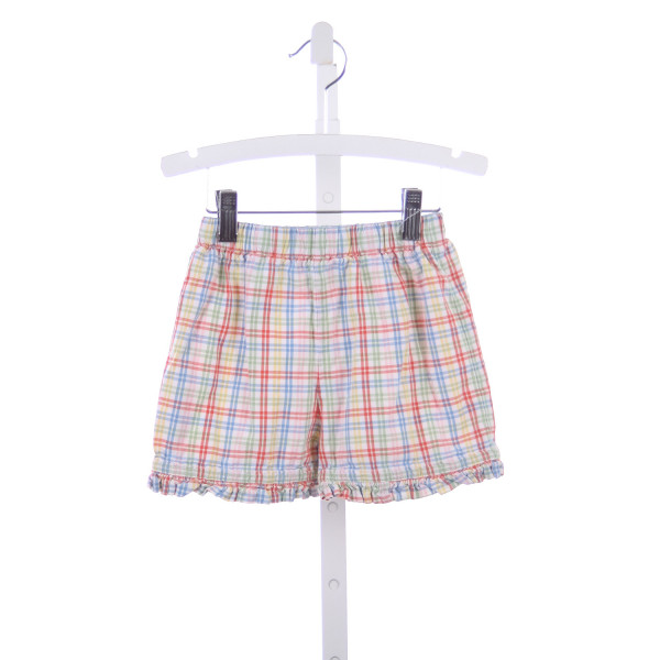 THE PLANTATION SHOP MULTI COLOR PLAID SHORTS WITH RUFFLE HEM