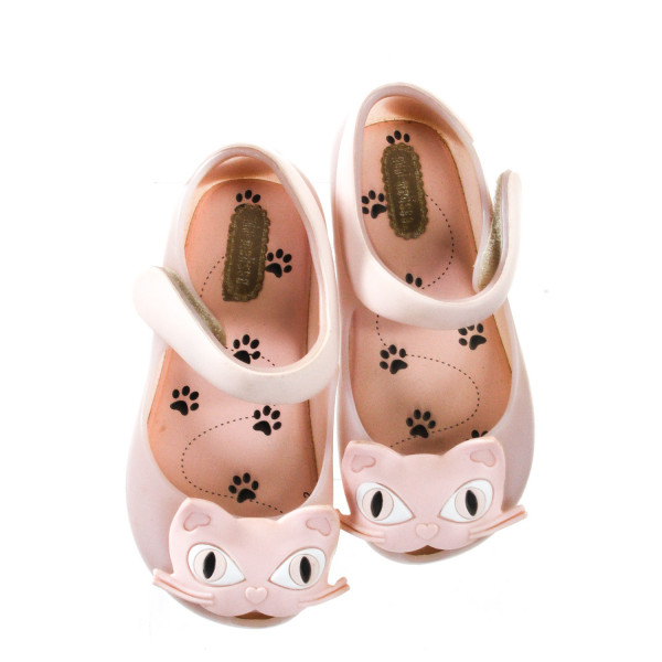 MINI MELISSA RUBBER PINK SLIP ON WITH CATS *SIZE 8, EUC