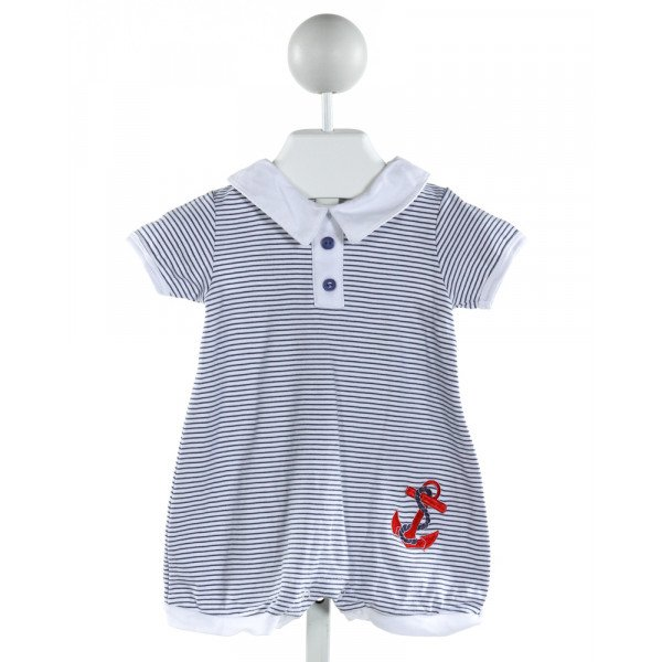 HUG ME FIRST  OFF-WHITE  STRIPED EMBROIDERED JOHN JOHN/ SHORTALL
