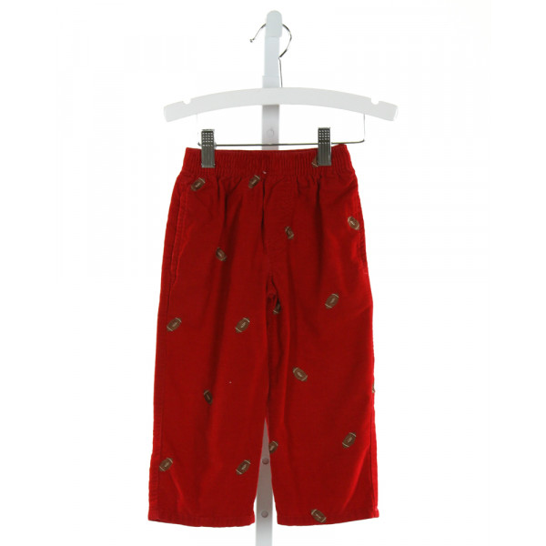 KELLY'S KIDS  RED CORDUROY  EMBROIDERED PANTS