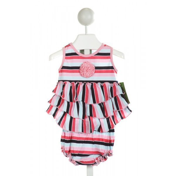 SAGE & LILLY  PINK  STRIPED APPLIQUED 2-PIECE OUTFIT WITH RUFFLE