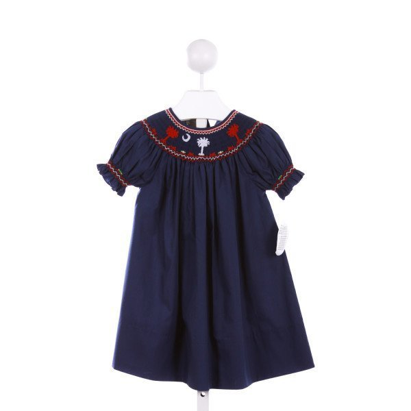 ROSALINA  NAVY   SMOCKED CASUAL DRESS