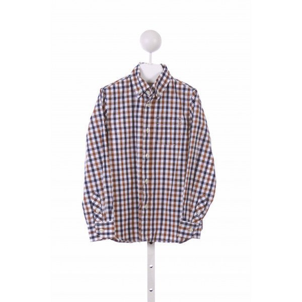 E-LAND  BROWN  PLAID  DRESS SHIRT
