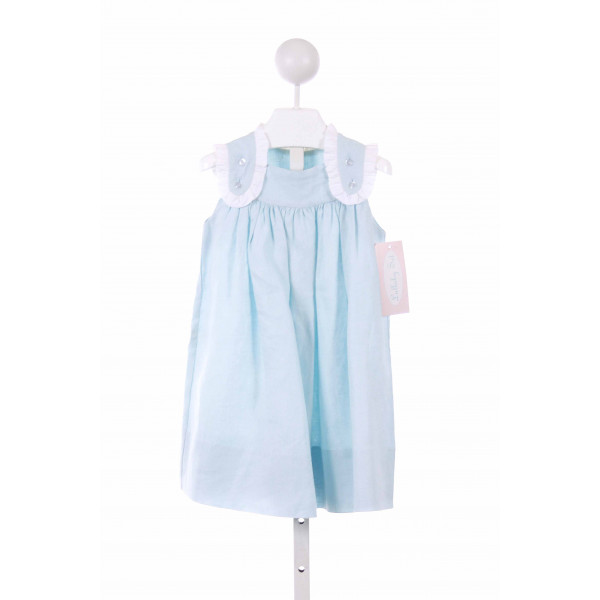 LULLABY SET  LT BLUE LINEN   CASUAL DRESS WITH RUFFLE