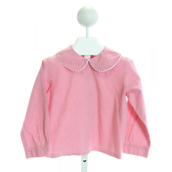 KATE & LIBBY  HOT PINK  GINGHAM  CLOTH LS SHIRT WITH RIC RAC