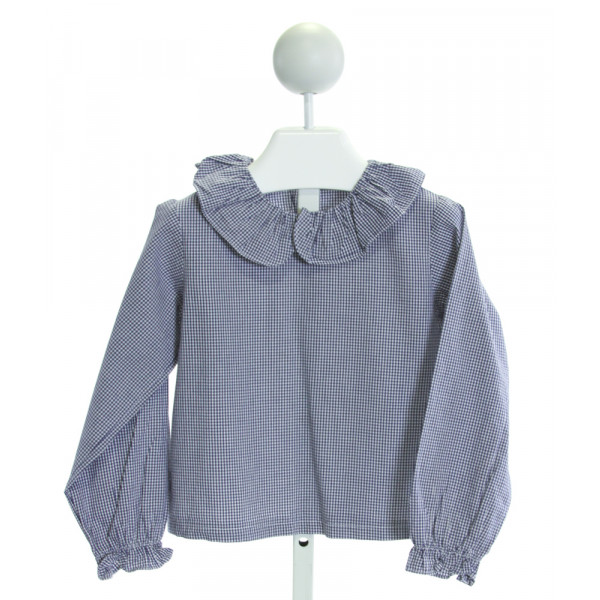 KATE & LIBBY  ROYAL BLUE  GINGHAM  CLOTH LS SHIRT WITH RUFFLE