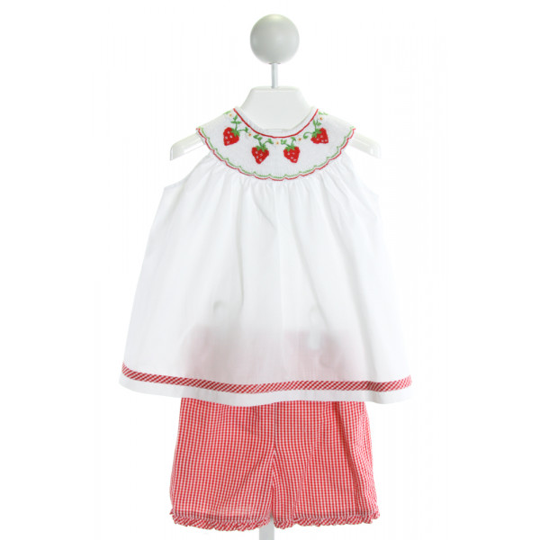 ORIENT EXPRESSED  WHITE SEERSUCKER GINGHAM SMOCKED 2-PIECE OUTFIT