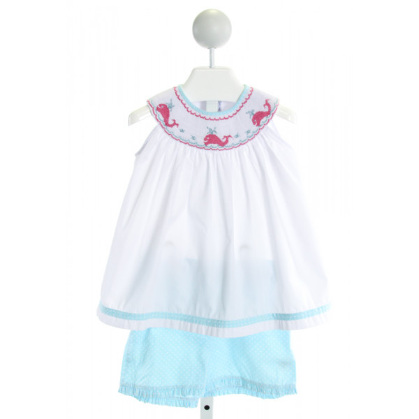 ORIENT EXPRESSED  WHITE   SMOCKED 2-PIECE OUTFIT WITH RUFFLE