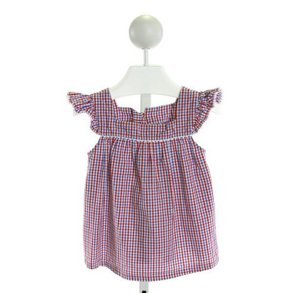 KATE & LIBBY  BLUE  GINGHAM  CLOTH SS SHIRT WITH RIC RAC