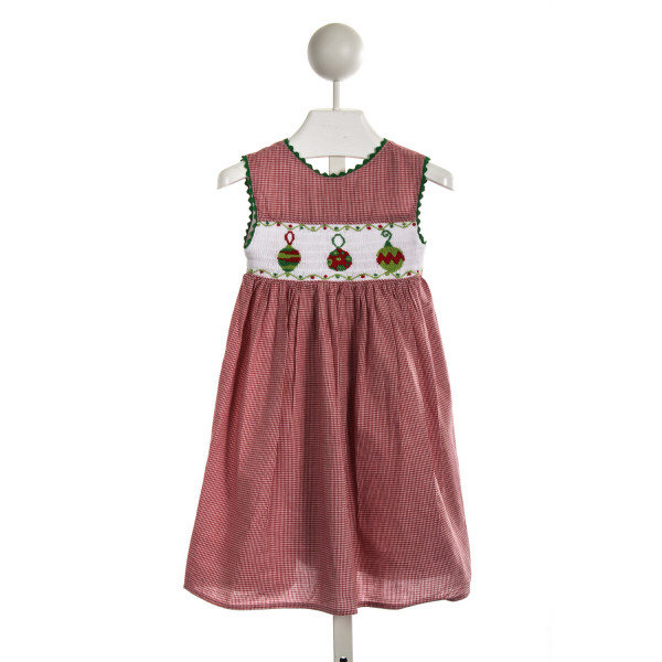 PLANTATION SHOP RED GINGHAM SMOCKED ORNAMENT DRESS WITH GREEN RIC RAC